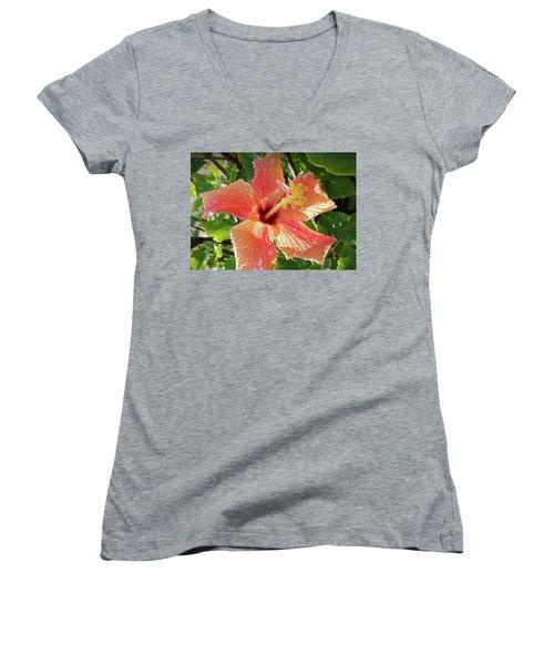 Orange Hibiscus Women's V-Neck (Athletic Fit)