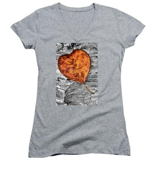 Orange Leaf Women's V-Neck T-Shirt