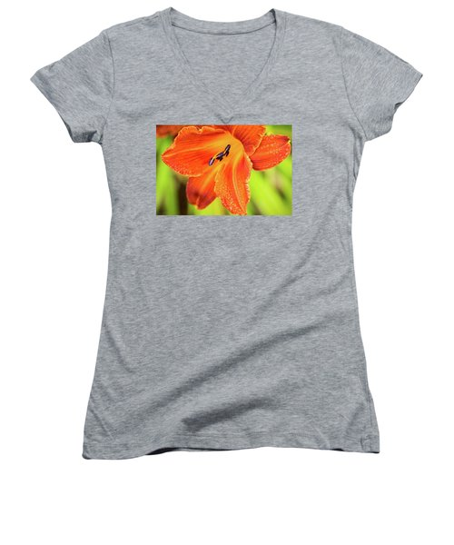 Orange Lilly Of The Morning Women's V-Neck (Athletic Fit)