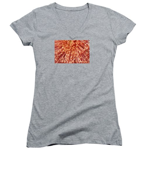 Orange Mum Women's V-Neck T-Shirt (Junior Cut) by Jim Gillen