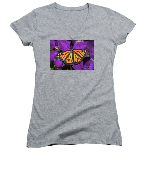 Orange On Purple Women's V-Neck T-Shirt