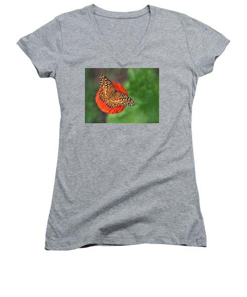 Orange Orange Green Women's V-Neck T-Shirt