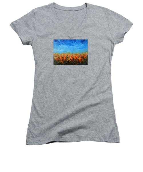 Women's V-Neck T-Shirt (Junior Cut) featuring the painting Orange Sensation by Jane See