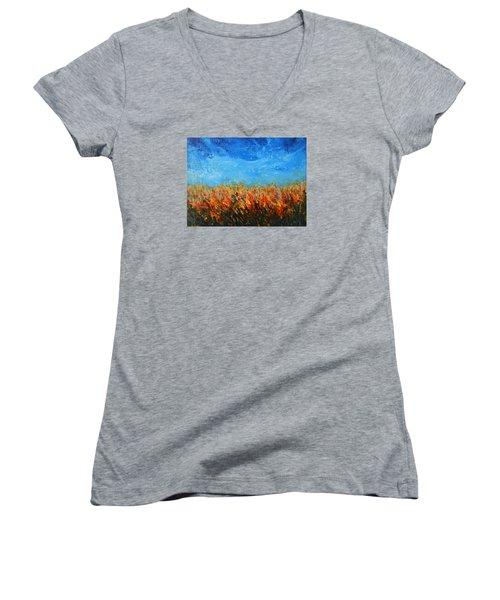 Orange Sensation Women's V-Neck T-Shirt
