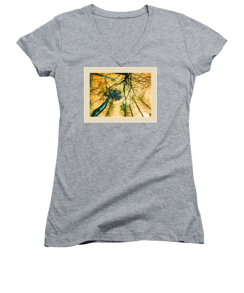Women's V-Neck T-Shirt (Junior Cut) featuring the photograph Orange Sky Tree Tops by Felipe Adan Lerma
