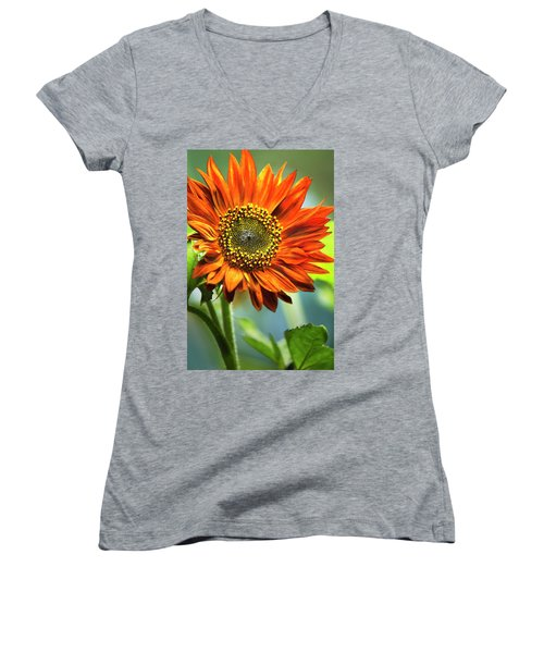 Orange Sunflower Women's V-Neck T-Shirt