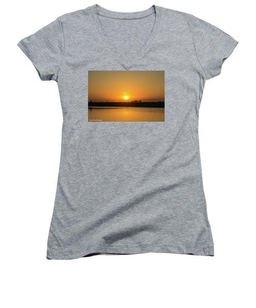 Orange Sunrise Women's V-Neck T-Shirt