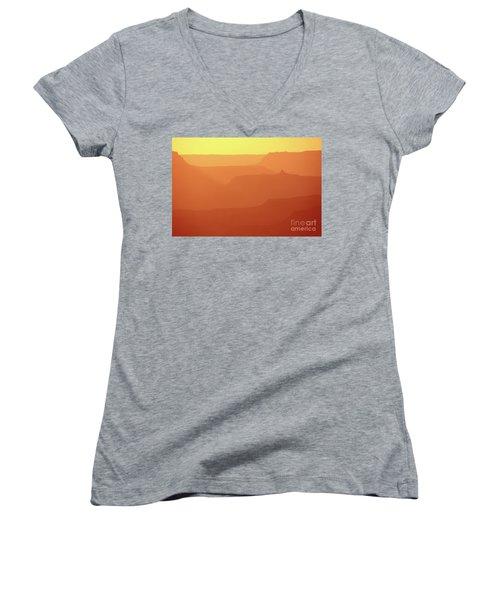 Orange Sunset At Grand Canyon Women's V-Neck T-Shirt (Junior Cut) by RicardMN Photography
