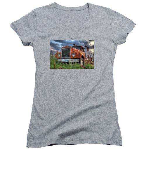 Orange Truck Women's V-Neck T-Shirt