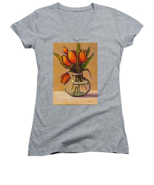 Orange Tulips Women's V-Neck T-Shirt