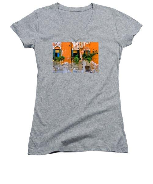 Orange Wall Women's V-Neck T-Shirt