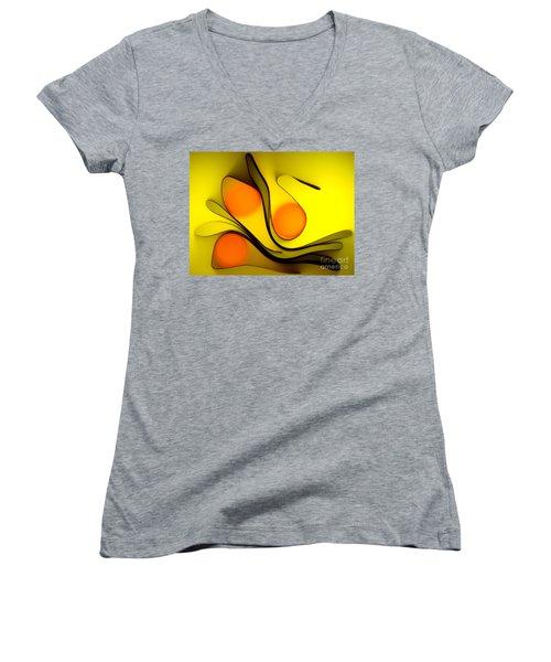 Women's V-Neck T-Shirt (Junior Cut) featuring the photograph Oranges by Trena Mara