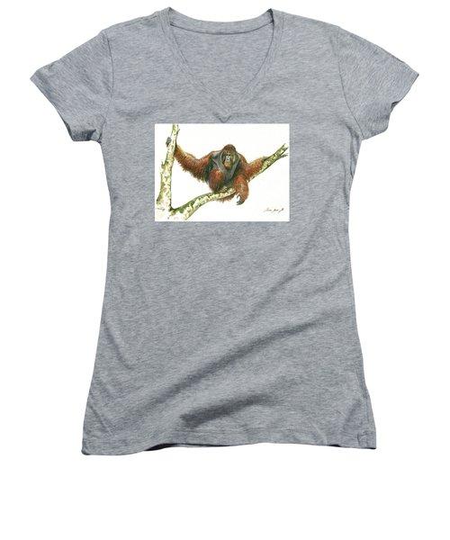 Orangutang Women's V-Neck T-Shirt