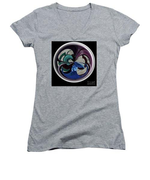Orb Lineup Women's V-Neck T-Shirt (Junior Cut) by Judy Wolinsky
