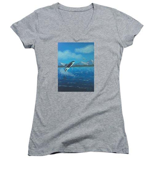 Orca Women's V-Neck T-Shirt (Junior Cut) by Brenda Bonfield