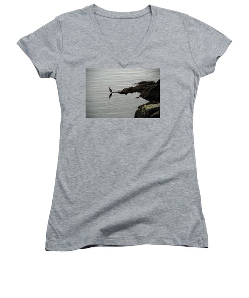 Orcas Island Bird  Women's V-Neck (Athletic Fit)