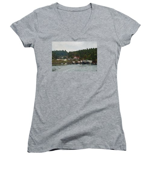 Orcas Island Dock Digital Women's V-Neck (Athletic Fit)