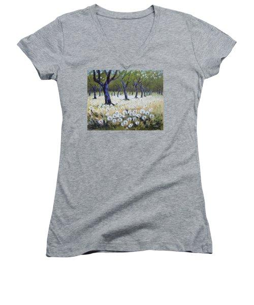 Orchard With Dandelions Women's V-Neck T-Shirt (Junior Cut) by Irek Szelag