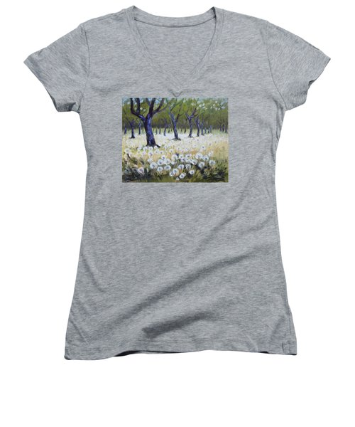 Orchard With Dandelions Women's V-Neck T-Shirt