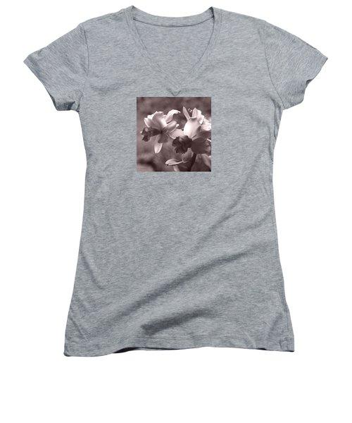 Women's V-Neck T-Shirt (Junior Cut) featuring the photograph Orchid Dream - Square by Kerri Ligatich