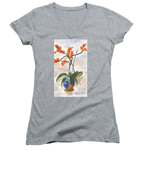 Women's V-Neck T-Shirt featuring the painting Orchid by Jamie Frier