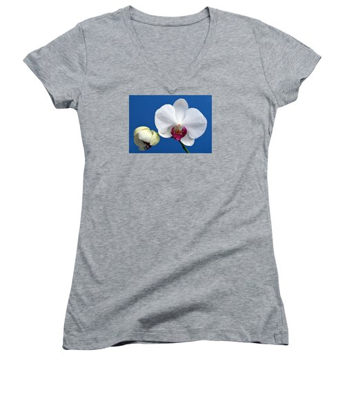 Orchid Out Of The Blue. Women's V-Neck T-Shirt (Junior Cut) by Terence Davis