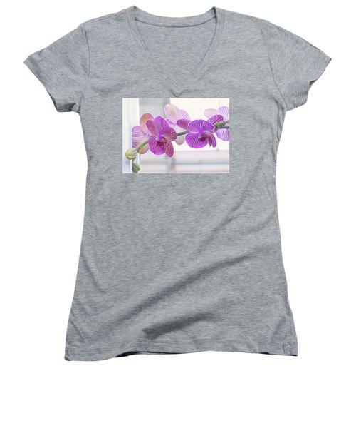 Orchid Spray Women's V-Neck