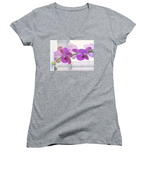 Orchid Spray Women's V-Neck (Athletic Fit)