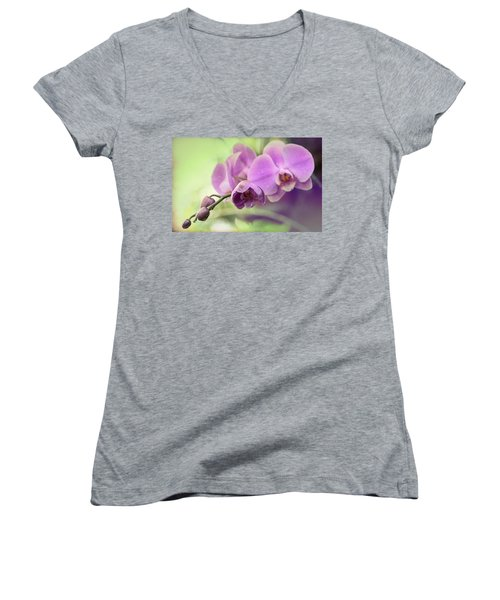 Women's V-Neck T-Shirt (Junior Cut) featuring the photograph Orchids by Cathy Donohoue