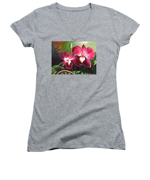 Orchids In The Night Women's V-Neck (Athletic Fit)