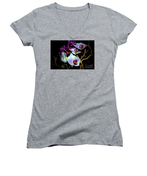 Women's V-Neck T-Shirt (Junior Cut) featuring the photograph Orchids In Water Color by Diana Mary Sharpton