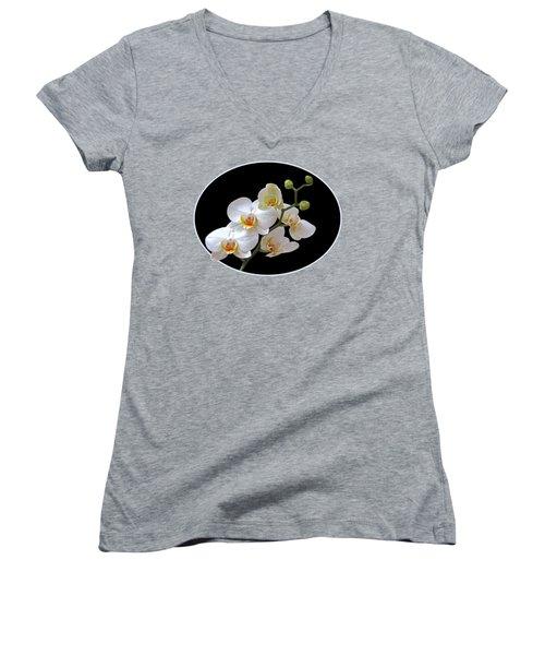 Orchids On Black And Orange Women's V-Neck T-Shirt (Junior Cut) by Gill Billington