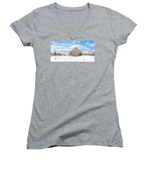 Orebro Castle Women's V-Neck T-Shirt (Junior Cut) by Marius Sipa