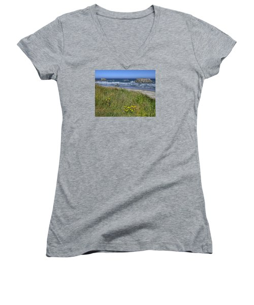 Oregon Beauty Women's V-Neck T-Shirt (Junior Cut) by Wanda Krack