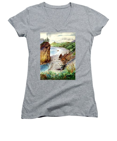 Women's V-Neck T-Shirt (Junior Cut) featuring the painting Oregon Coast #3 by John Norman Stewart