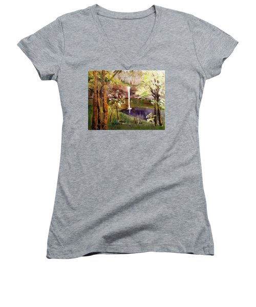 Oregon Waterfall Women's V-Neck T-Shirt (Junior Cut) by Larry Hamilton