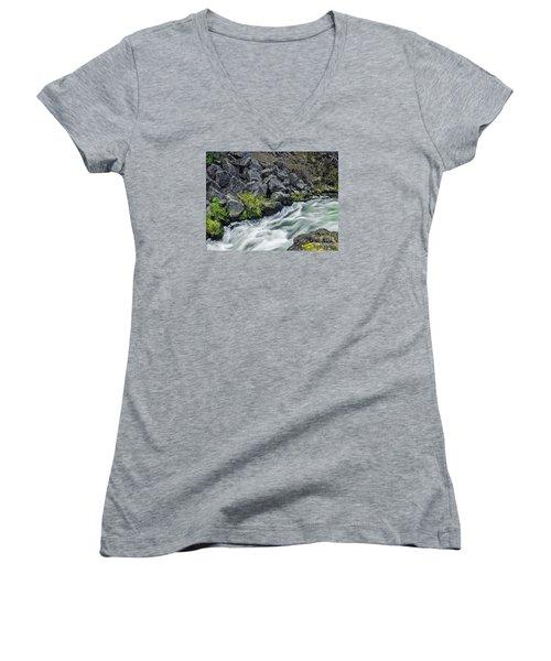 Oregon's Dillon Falls Women's V-Neck T-Shirt (Junior Cut) by Nancy Marie Ricketts