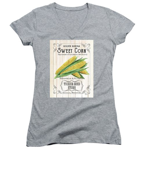 Women's V-Neck T-Shirt (Junior Cut) featuring the painting Organic Seed Packet 4 by Debbie DeWitt