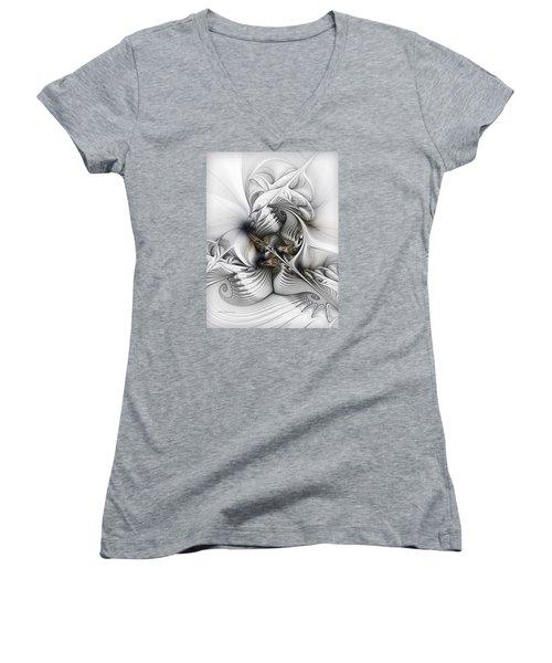 Women's V-Neck T-Shirt (Junior Cut) featuring the digital art Organic Spiral Tower Construction by Karin Kuhlmann