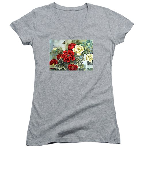 Women's V-Neck T-Shirt (Junior Cut) featuring the photograph Oriental Flowers by Munir Alawi
