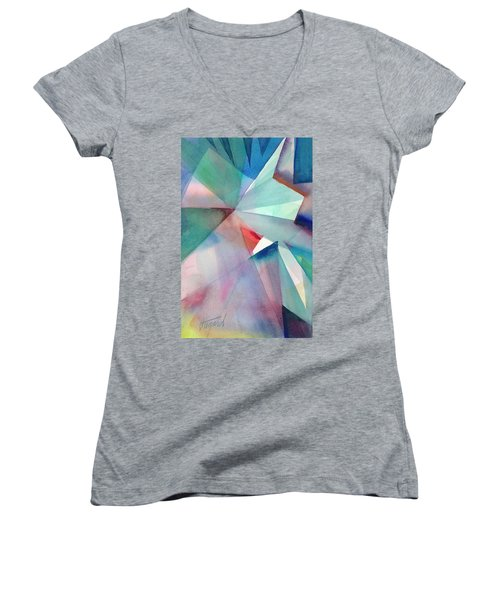 Women's V-Neck featuring the painting Origami Sky by Carolyn Utigard Thomas