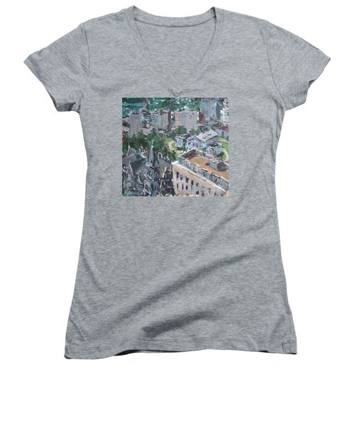 Original Contemporary Cityscape Painting Featuring Virginia State Capitol Building Women's V-Neck T-Shirt (Junior Cut) by Robert Joyner