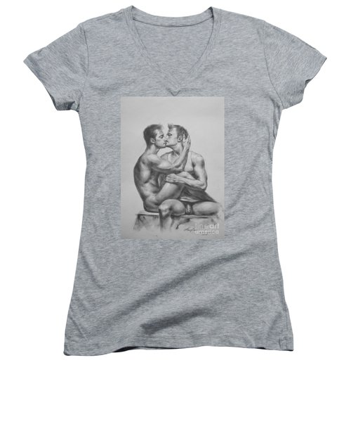 Original Drawing Sketch Charcoal Male Nude Gay Interest Man Art Pencil On Paper -0036 Women's V-Neck T-Shirt (Junior Cut) by Hongtao     Huang