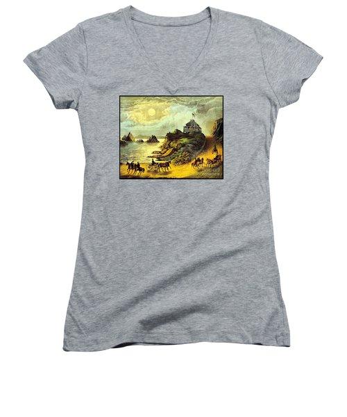 Original San Francisco Cliff House Circa 1865 Women's V-Neck T-Shirt