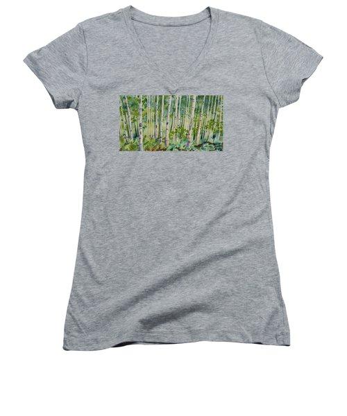 Original Watercolor - Summer Aspen Forest Women's V-Neck