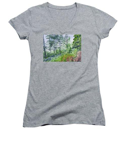 Original Watercolor - Summer Pine Forest Women's V-Neck