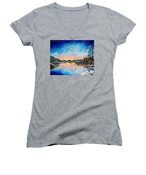 Orion Over Tahoe Winter Women's V-Neck T-Shirt (Junior Cut) by Matt Konar