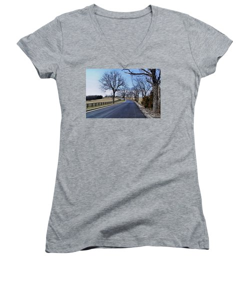 Women's V-Neck T-Shirt (Junior Cut) featuring the photograph Osage County Road by Cricket Hackmann