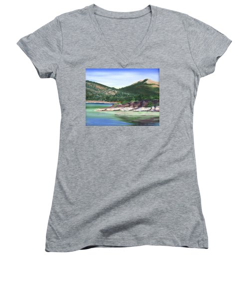 Osprey Island Flaming Gorge Women's V-Neck T-Shirt (Junior Cut) by Jane Autry