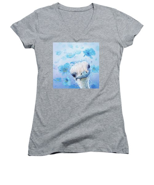 Ostrich In A Field Of Poppies Women's V-Neck (Athletic Fit)